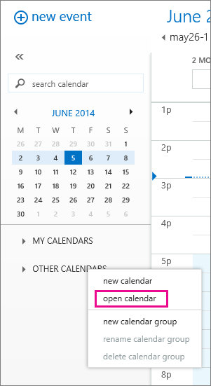 Screenshot showing how to open another calendar in Outlook Web App