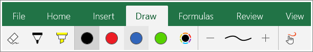 Screenshot of the Draw tab in Excel Mobile for Windows 10