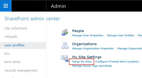 Screen image of SharePoint settings menu, and User Profile highlighted