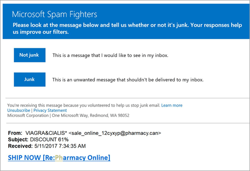 A screenshot of a Spam Fighters email