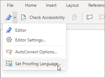 Select the Editor drop-down menu, and choose Set Proofing Language