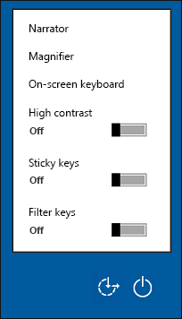 Ease of Access options on the sign-in screen