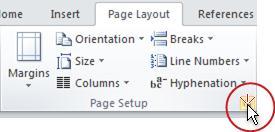 Page Setup dialog box launcher