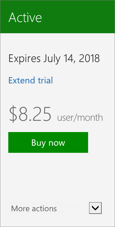 Close-up of the subscription card showing the date the trial expires, a link to extend the trial, and a button to buy now.