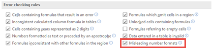 Go to File > Options > Formulas > Error checking rules to toggle the Misleading number formats option.