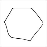 Shows a hexagon drawn in inking.