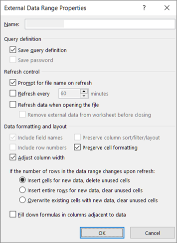 Example of the External Data Range Properties dialog box