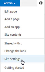SharePoint Online Public Website Settings menu