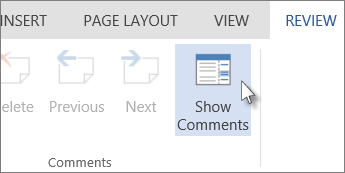 Image of Show Comments command under Comments tab in Reading View of Word Web App