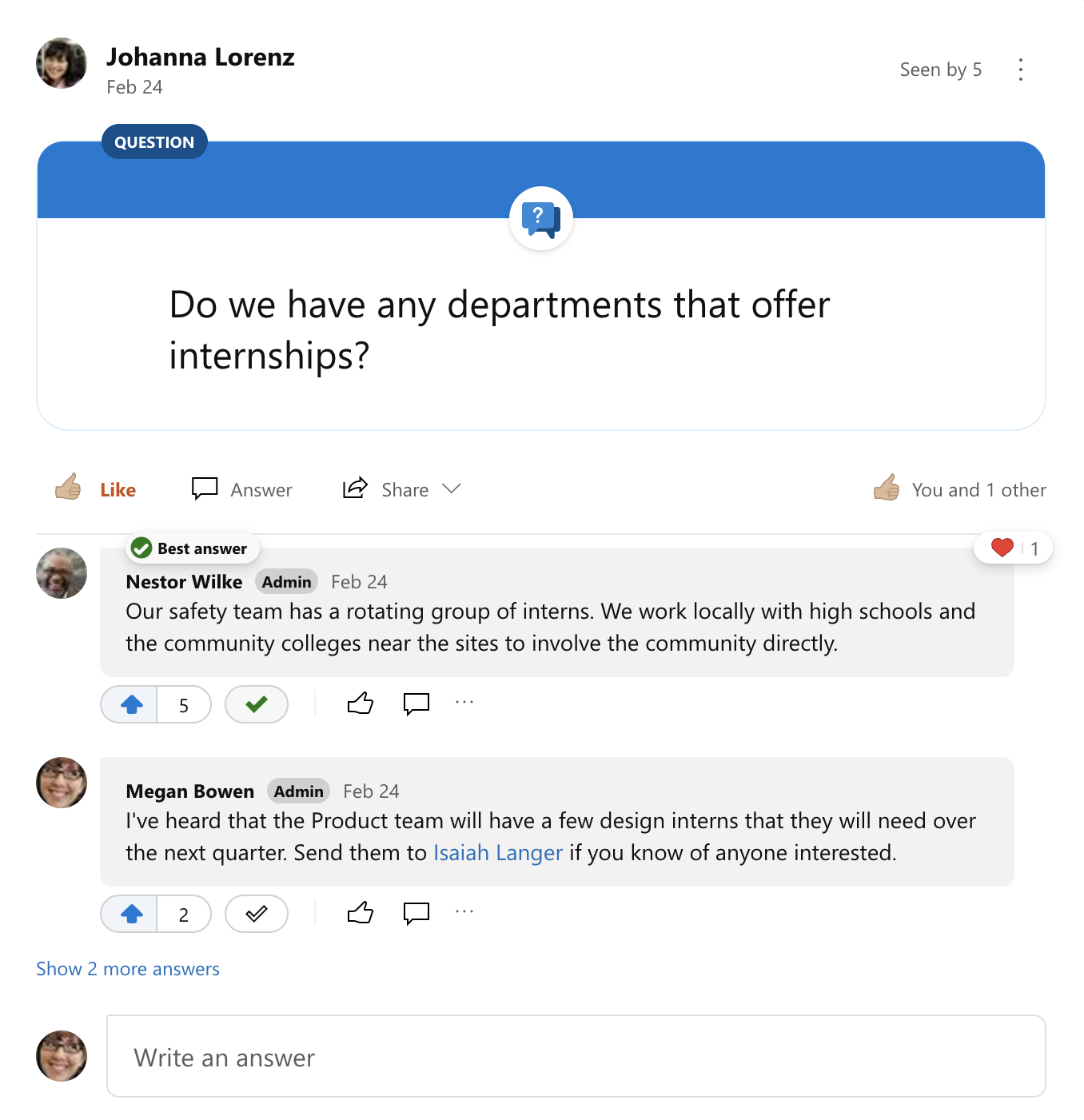 Best answer to a Yammer question