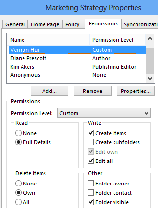 Set or change permissions for a public folder - Outlook