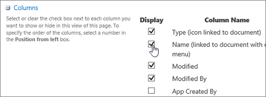 Column chooser dialog box