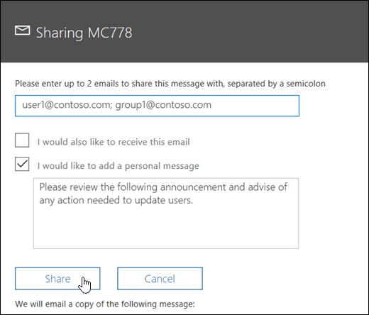 A screenshot of the message sharing screen