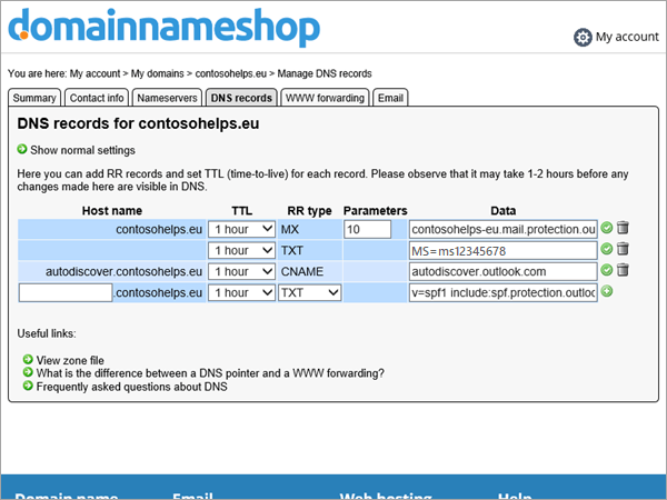 TXT record in DNS record in Domainnameshop