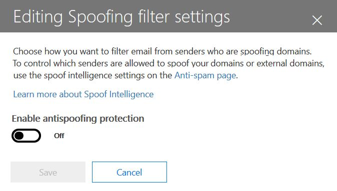 Enable or disable antispoofing