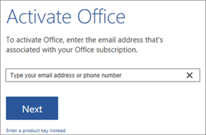Shows the Activate dialog box where you can sign in to activate Office