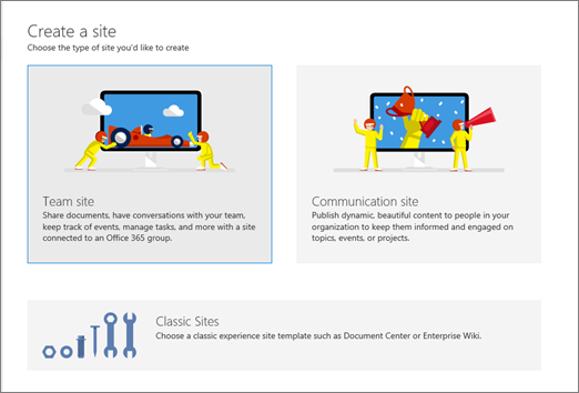 Create a communication site, team site, or classic site from the admin center