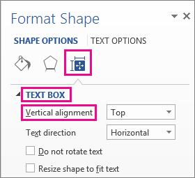 Selecting vertical alignment in the Format Shape pane
