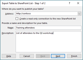 export to sharepoint wizard dialog box