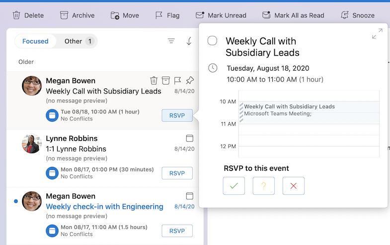 Respond to meeting invitations in the Message List