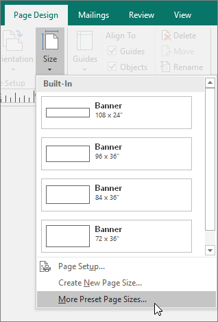 Screenshot of the More Preset Pages Sizes option on the Page Design tab in Publisher.