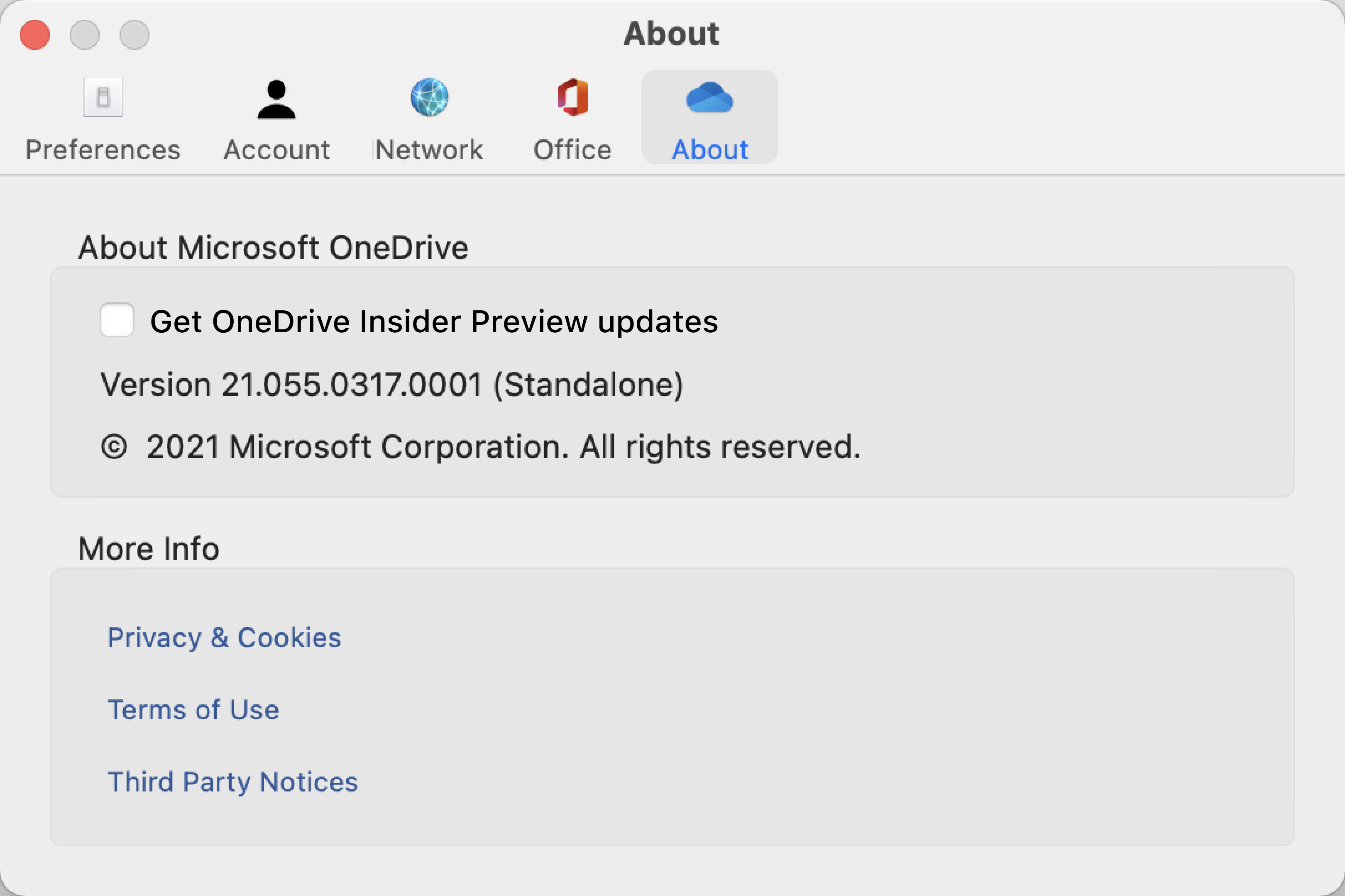 "Shows the OneDrive About screen on a Mac. Build and version info is under ""About Microsoft OneDrive."""