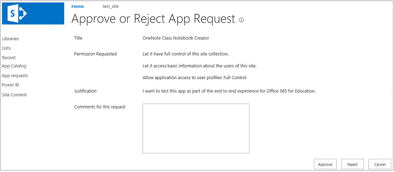 Screen shot showing the Approve or Reject App Request dialog box
