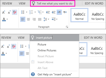 "Shows the ""tell me"" search box on the ribbon in Word Online."
