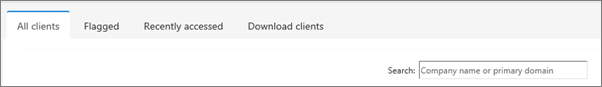 The tabs on the Client list page.