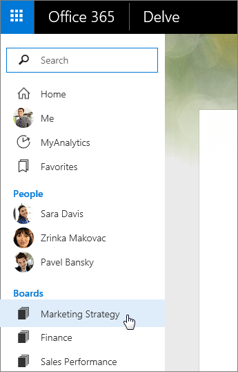Screenshot of the Boards list in the left pane of Delve.