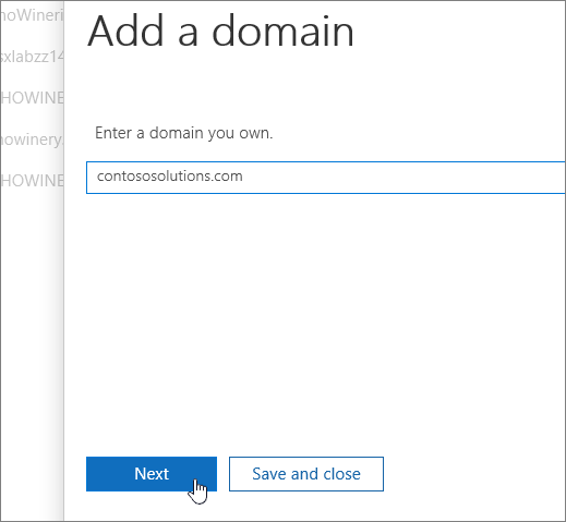 "Enter a domain you own and click ""Next"""