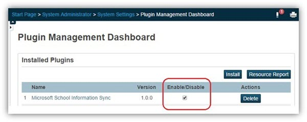 On the Plugin Management Dashboard page make sure that the plugin is enabled