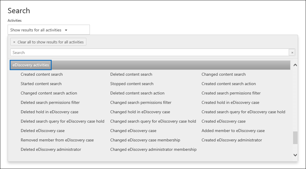 "Under ""eDiscovery activities"" click one or more eDiscovery-related activities to search for"