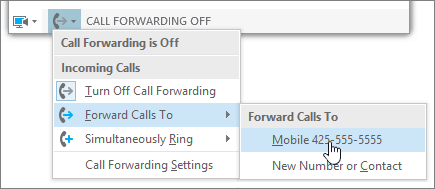 Main Menu Call Forwarding Dropdown Menu