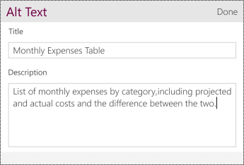 Add Alt Text to a table.