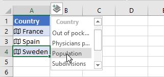 Population field selected in menu