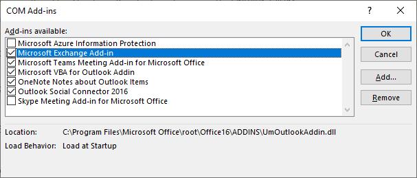 Outlook coms add-in window is open.