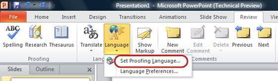 powerpoint ribbon review tab set language