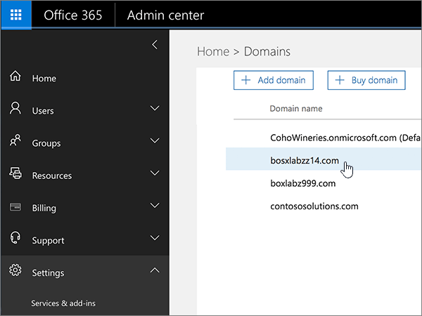 Domain name selected in Office 365 Admin Center