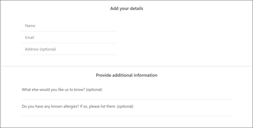 Screen capture: Showing what the custom questions look like for the customer.