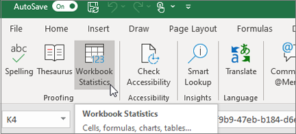 Workbook statistics button