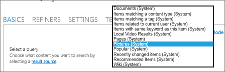 The CSWP Select a query options menu