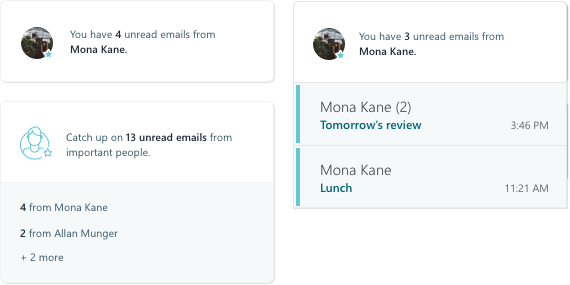 Screen shot of MyAnalytics email activity