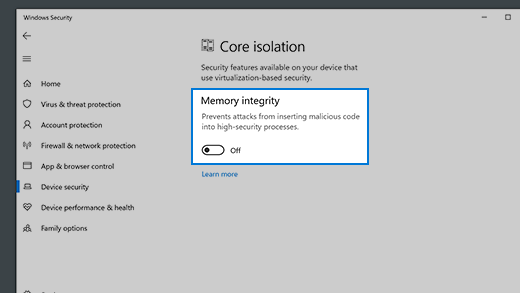 Memory integrity details under core isolation