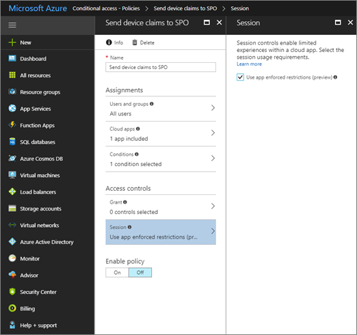 Creating a policy in the Azure AD admin center to use app-enforced restrictions