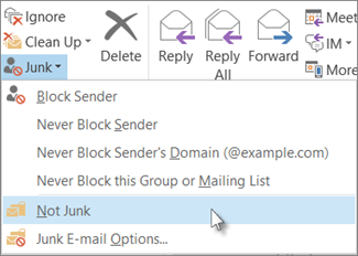 Click Junk, and not Not Junk.