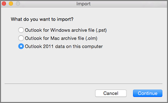 Import screen with Outlook 2011 data on this computer selected