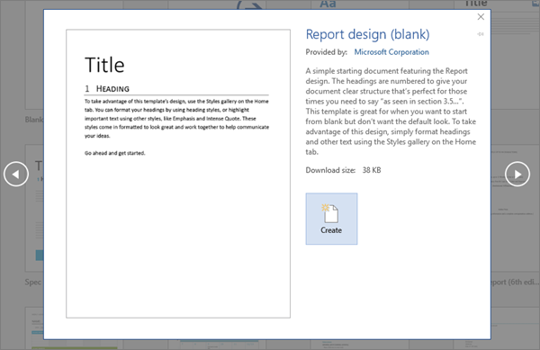 Shows A Report Design Template Preview In Word 2016.  Microsoft Word Templates For Reports