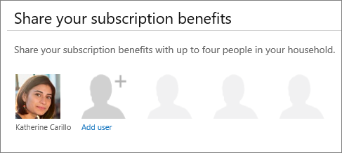 "Screen shot of the ""Share your subscription benefits"" section of the Share Office 365 page that shows the ""Add user"" link."
