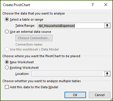 Excel Insert > PivotChart options